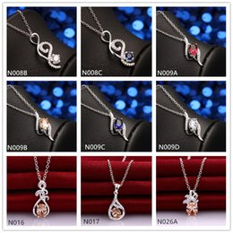 New arrival fashion women's gemstone 925 silver Necklace Pendant 10 pieces a lot mixed style,cheap sterling silver Pendant Necklaces EMN30