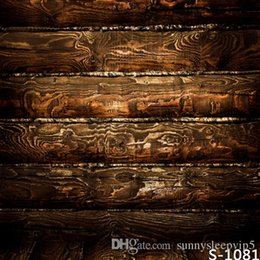 Wholesale Dark Brown Wooden Board X7ft Children Baby Wedding Photography Vinyl Backgrounds for Photo Studio Gallery Backdrops