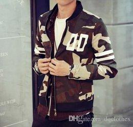 Promotion coton ouaté korean veste de baseball Nouvelle Collection Men Camouflage Baseball Jacket hoodies minces automne Top qualité coréenne mince Camo Baseball Jacket Sueurs Casual