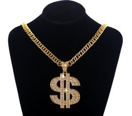 Hot mens Hip hop jewerly necklaces New 18K gold plated US Dollar pendant long chain pendant statment necklace hiphop rock jewelry for men