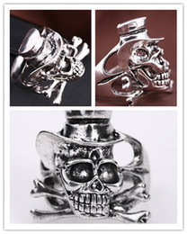 Wholesale New Fashion Antique Silver Rings for Bikers Men Skeleton Vintage Personality Punk Style Jewelery for Gentleman Gifts for Party