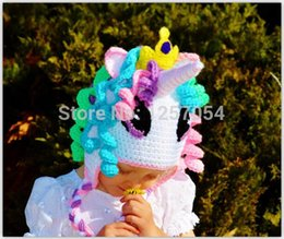 Wholesale Crocheted My Little Pony Hat Baby Girls Knitted Wigs Hat Infant Toddler Kids Cartoon Character Caps Children Princess Beanie Earflaps Cotton