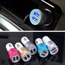 Wholesale Portable Mini bullet shape A Metal Dual usb car charger power bank for mobile iphone i6s s7 note phones universal powerbank chargers