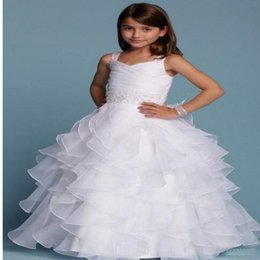 New Arrival 2016 White Flower Girl Dresses Spaghetti Straps Ruffles Tiered Organza Ball Gowns Custom First Communion Dresses
