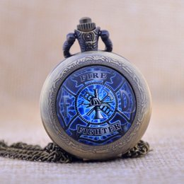 Wholesale New Arrivals Fire Fighter Fireman Black Silver Bronze Quartz Pocket Watch Analog Pendant Necklace Mens Womens Pocket Fob Watches P460