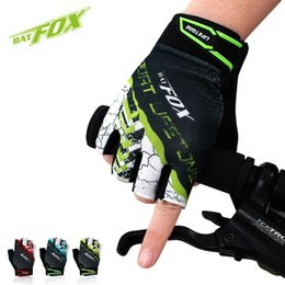 Wholesale BATFOX Half Finger Cycling Gloves For Men Women Mountain Road Bike Gloves Shockproof Palm MTB Gloves Breathable Guantes Ciclismo