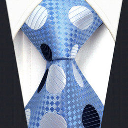 Y5 Polka Dot Azure Silver Navy 100% Silk with handmade Classic Men's Accessories Ties Necktie
