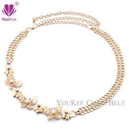 H Belt Gold Plated Pearl On Butterfly Hollow Metal Chain Belt Fashion Ladies Belts For Women Thin Waist Straps Waistband BL-803