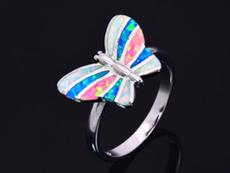 Wholesale & Retail Fashion Fine Blue & Pink & White Fire Opal Ring 925 Silver Plated Jewelry For Women EMT1517009