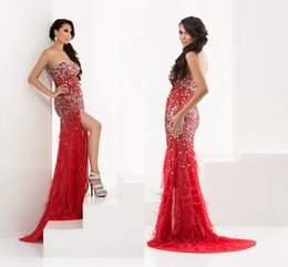 Wholesale Sweetheart Glitter Sequin Short Dress - Free delivery Luxury sexy sweetheart mermaid heavy beaded crystal glittering red white green halter dress feather formal prom gown HY964