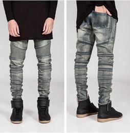 new mens Biker Jeans Motorcycle Slim Fit Washed yellow Black Grey Blue Moto Denim skinny Elastic Pants Joggers For Men jeans
