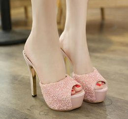 2017 taille 34 talon rose 14cm Glitter paillettes peep toe talons hauts pantoufle femmes rose parti blanc chaussures habillées taille 34 à 39 taille 34 talon rose ventes