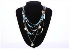 Promotion lien pour les perles Fashion New Bohemia Multilayer Turquoise Beads Chain Link Collier Pour Femmes Girl Wholesale Statement Jewelry