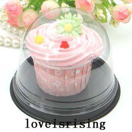 Promotion boîte de petit gâteau de faveur de fête de mariage Livraison gratuite-50pcs = 25sets Clear Cupcake en plastique Cake Dome favori boîtes conteneur Wedding Party Décoration gâteau boîte