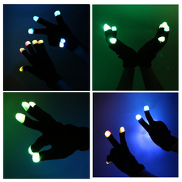 Wholesale LED Glove Flash Color changing Rave light led finger light gloves light up glove For Party favor music concert