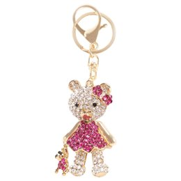 Wholesale 2016 Hot Fashion Beautiful Bear Mother And Bear Baby Crystal New Charm Pendant Purse Bag Key Chain Creative Creative Gifts