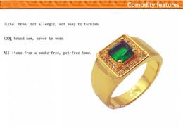 Wholesale Taille fixe Femmes Deluxe S et bijoux pour hommes Big Green CZ Emerald Pierre KT Yellow Gold Ring MM