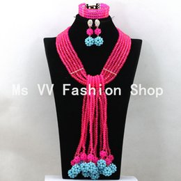 Exclusive African beads Turquoise Blue Wedding Costume Jewelry Set fushia blue Chunky African Statement Necklace Set Free Ship
