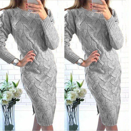 Wholesale Vestidos New Spring Winter Women Dress Split Hem Long Sleeve Solid Knitted Dresses Elegant Sweater Dress Pullover Plus Size