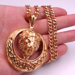 18k Gold Plated Charm Lion Head Pendant Box Chain Necklace Hip Hop Jewelry Men's