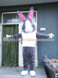 Rabbit mascot costume free shipping and selling high-quality gray plush mascot bunny mascot adult type discount.