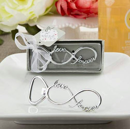 Wholesale Newest forever love chrome beer bottle opener wedding favors and gifts for guests Party gifts supplier Bridal shower