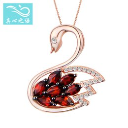 Wholesale The New European and American fashion S925 silver swan Garnet Rose gold plated With chain wedding