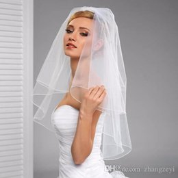 Wholesale New Arrival Tow Layers Bridal Veil Wedding Fashion two white ivory Face Veil With Pencil Edge