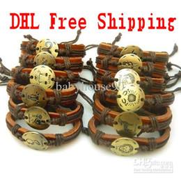 Wholesale Twelve Constellations Leather Wrap Bracelets Wristbands Metal Charm Bracelet Bangles For Men Women Jewelry Gift DHL