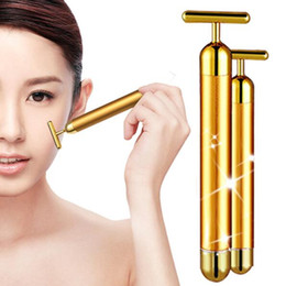 Wholesale 24K Beauty Bar Golden Derma Roller Energy Face Massager Beauty Care Vibration Facial Electric Massager with Retail packaging