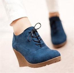 2016 New High Heel Wedges Shoes Platform Pumps for Women Lace up Casual Shoes Sexy Women Shoes Fall Spring Pumps Rubber Shoes