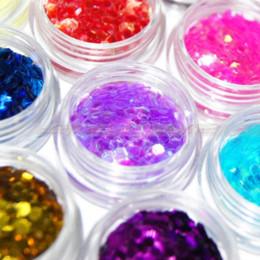 Nail Art 18 pcs Color Glitter Big Hexagonal Flake Powder Acrylic tip Decoration art glass decor