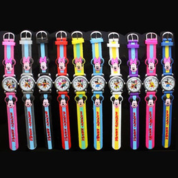 3D Cartoon Lovely Kids Girls Boys Children Students Mickey Minnie mouse Quartz Wrist Watch Very Popular
