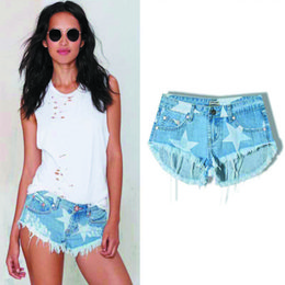 Wholesale The top new arrival jean for women fashionThe beach club wind Couture Mini shorts denim shorts fringed star stamp S M X XL size tide