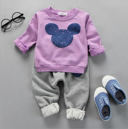 Wholesale Hug Me Girls Boys Girls Baby Cothes Kids Suit Mickey Top Pants set Kids clothes New Autumn Winter palm pattern Pants AA