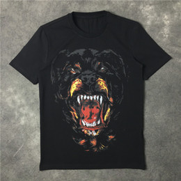 summer brand new men summer fashion luxury tshirts Rottweiler dog print cotton tees black short sleeves tops
