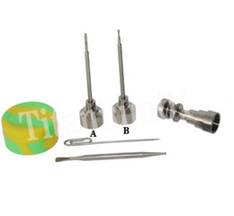 6 in 1 Titanium nail with fit 20mm bowl Titanium carb cap with 1 random Silicone Jar Container with 2 Real Ti dabbers