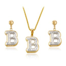 Wholesale 2pcs Jewelry Set Necklace Stud Earrings Letter B Shape Multicolor Jewelry Sets For Women Xuping Copper Jewlery