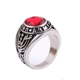 Wholesale Vintage Ring Sets Fashion Designer Antique Stainless Steel Ruby and Black Onyx Stone Midi finger Rings for Women Conjuntos de anillo