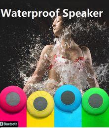 Promotion mains libres universel 2016 Haut-parleur portable sans fil Bluetooth étanche mini haut-parleurs d'aspiration IPX4 voiture de douche Mains libres Recevoir Appelez Musique Téléphone Multicolore
