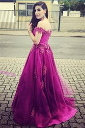 Purple tulle prom dress 2016 off shoulder beading appliques luxury evening dress
