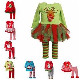 Wholesale Christmas Pajamas Long Sleeve Pyjamas Kids Striped Pajamas Kids Nightwear Set Xmas Pajamas Baby Sleepwear Kid Cothes Set Cartoon Pajamas E18