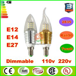 Wholesale High Bright e12 e14 e27 led Candle Light bulb W W dimmable chandelier bulbs gold silver lamp V V warm nature cool white