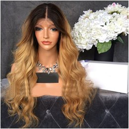 Ombre Full Lace Wigs Human Hair 1B#T27# Two Tone Blonde Ombre Brazilian Lace Front Wig With Baby Hair For Woman