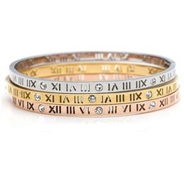 Delicate Smart Hollow Roman Numerals Bracelet Titanium Steel Bangle for Women Gift Fine Jewelry Pulseiras Top Quality