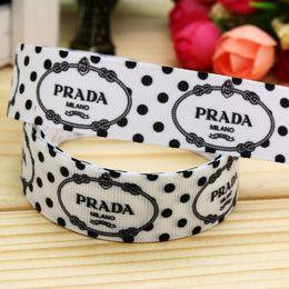 "7 8"" 22mm Black Dots Printed Grosgrain Ribbon For Handmade Diy Materials Original Handcraft Gift Event Decos A2-22-2239"
