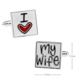 Brand New Trendy Rare Exquisite Cuff Links I Love My Wife Letter Lover's Gift Wedding Groom Party Shirt Cuff Links 960026