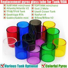 Wholesale Colorful Glass Replacement Pyrex Tube TFV8 TFV4 Subtank Toptank Mini Nano Plus Triton Atlantis iJust V2 Arctic GeekVape Crown Goblin Tank