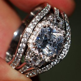 Wedding Ring Set For Women Vintage 10kt White Gold Filled With Inlay AAA CZ Diamond Female His Girlfriend Gift Party 3-in-1