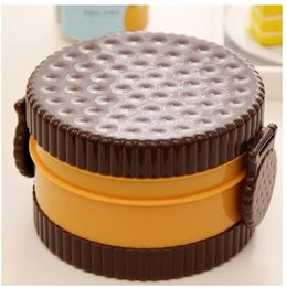 Wholesale 2016 New arrival creative portable double deck brown cookie shape microwave tableware lunch box for kids food container